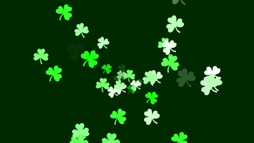 Clovers continuously shoot towards the screen, as if we're flying through an Irish dream. (High Definition 1080p)