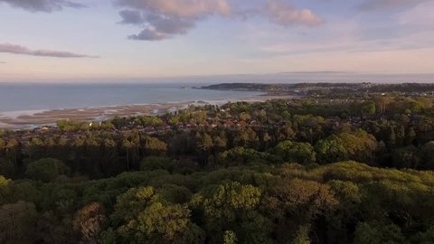 Aerial view from Clyne Park of low tide at the Mumbles and West Cross area of Swansea, South Wales, UK