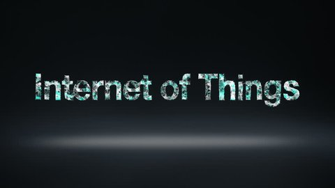 Numerous dots gather to create a 'Internet of things' typo, low-polygon web.