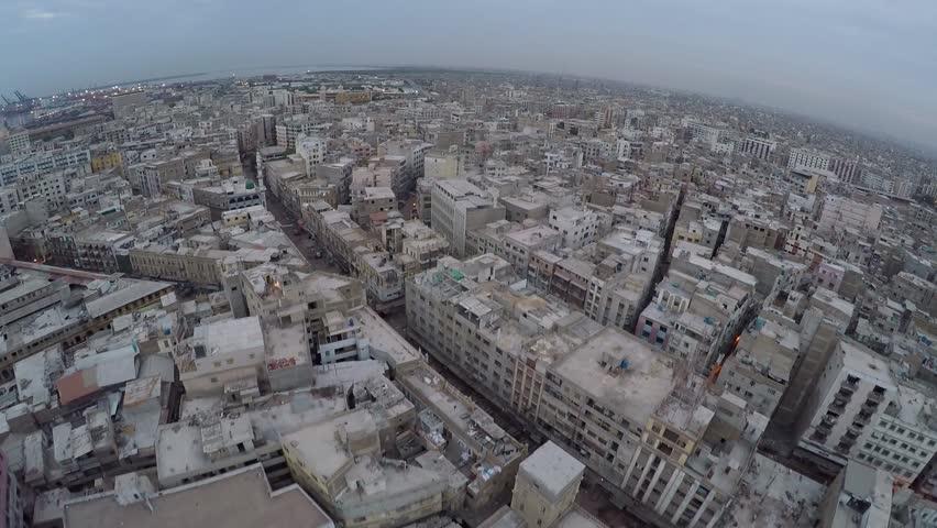 Karachi city aerial shot , Drone shot. Pakistan. 6th May 2016