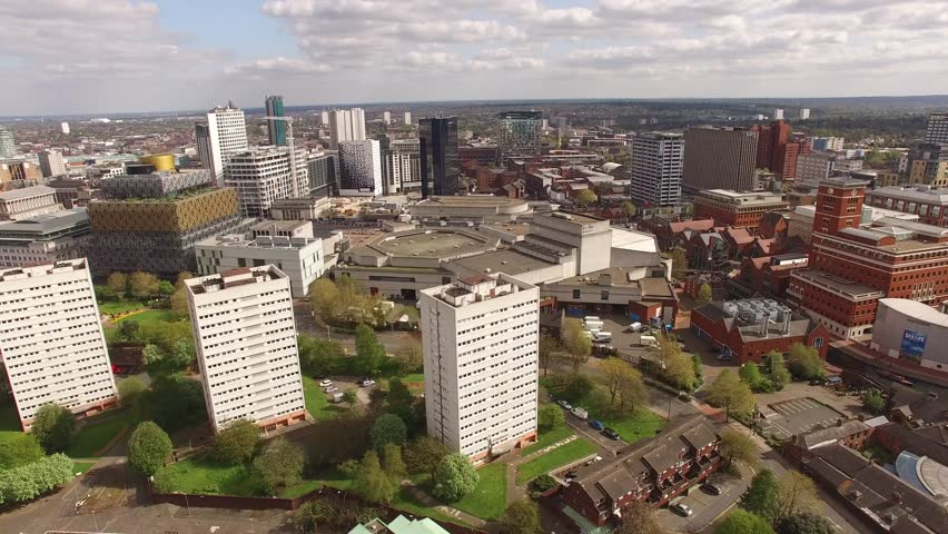 Birmingham UK Aerial Panning shot with Library, Symphony Hall and Brindley Place