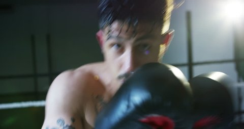 Professional young boxer in the ring, practice the technique of strikes, rack, defense and endurance, wet on the training, in front of the camera. Concept: love sports, young boxers, love to win.