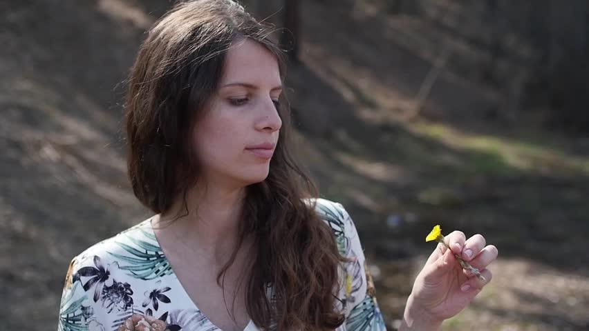 Pregnant girl walking with flower, slowmotion | Shutterstock HD Video #26423762