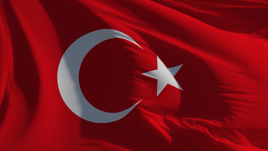 Flag of Turkey: seamless loop animation (full screen)