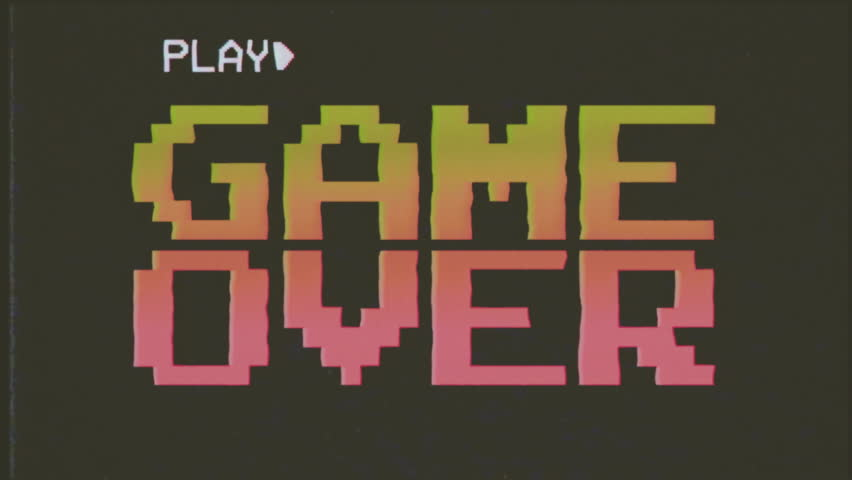 Fake VHS tape: a funky colorful 4k game over screen animation, letters falling towards the center. 8 bit retro style, red and yellow.