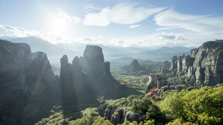 timelapse Meteora monasteries in Greece