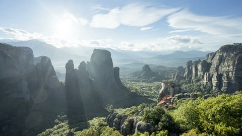 timelapse Meteora monasteries in Greece