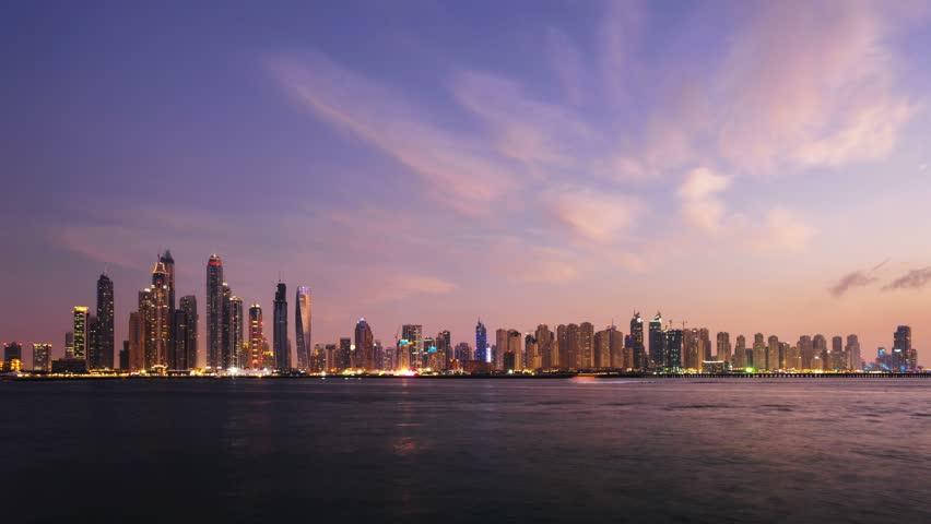 Timelapse of skyscrapers in Dubai Marina, sunset time, UAE | Shutterstock HD Video #26459552