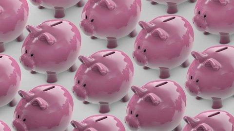 line of piggy banks goes. piggy bank full of coins. piggy banks conveyor. Saving money hand putting coins in a piggy bank. Seamless loop
