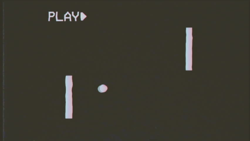 Fake VHS tape: a simplified mock-up of a classic videogame of two paddles throwing a ball. Captured from a computer screen for added realism.