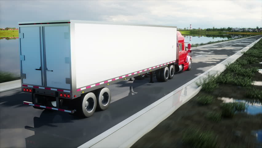 semi trailer, Truck on the road, highway. Transports, logistics concept. 4K realistic animation.