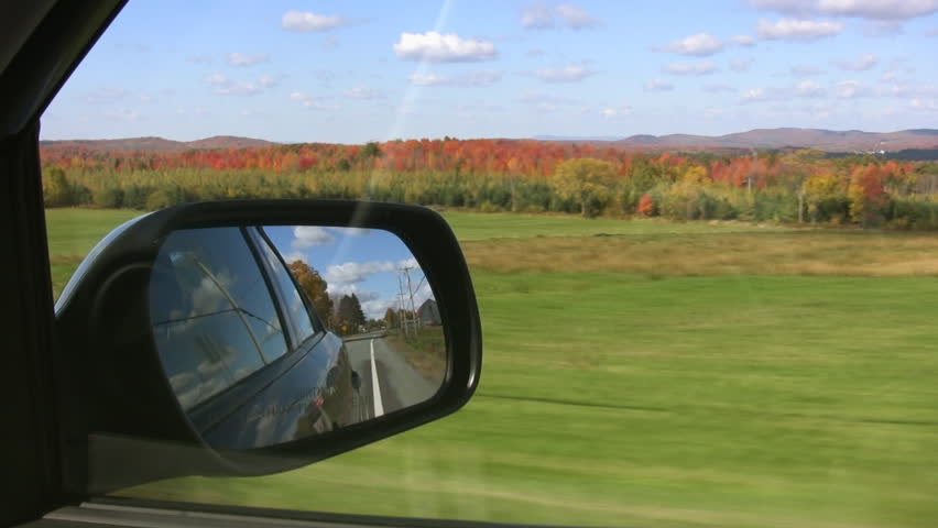 Driving on a perfect autumn day. Quebec, Canada.