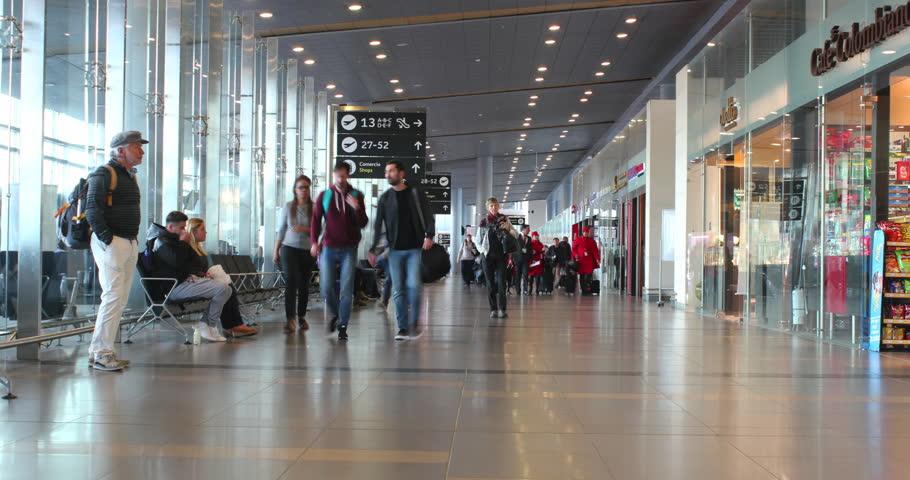 BOGOTA, COLOMBIA. APRIL 20, 2017: Timelapse Passangers at the Bogota International Airport. El Dorado International Airport, Bogotá, Colombia.