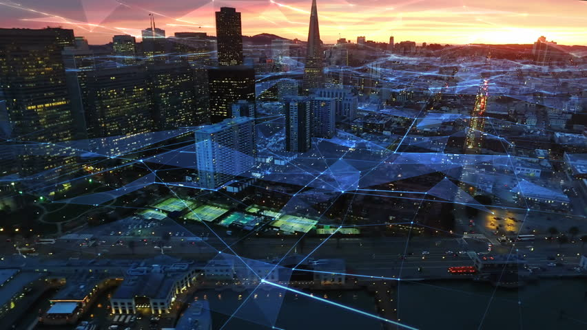 Connected San Francisco skyline. Financial District at dusk. Aerial view. California, United States. Futuristic network. Technology. Shot from helicopter.  | Shutterstock HD Video #26496272