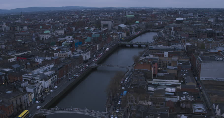 Aerial view flying over Dublin | Shutterstock HD Video #26506952