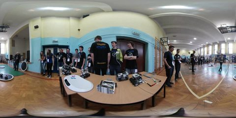 Opole/poland - Apr 25 2017: School Competition on Robotics Designing in Opole. 360Vr Video 360 Degrees, Flat Spherical Panorama. Boys and Girls, With Badges, Teenagers Are Standing in a Line,