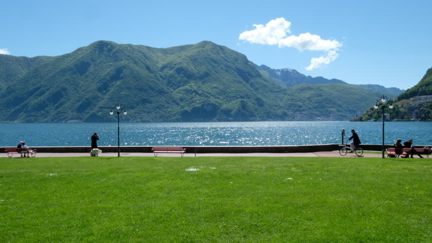 Lugano, Switzerland. Lake panorma.