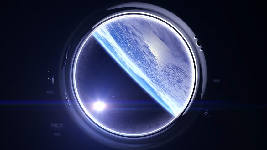 Sunrise over the Earth. Earth as seen through window of spaceship. The earth slowly rotates. Realistic atmosphere. Volumetric clouds. View from space. Starry sky. 4K. Space, earth, orbit, Elements furnished by NASA. | Shutterstock HD Video #26555942