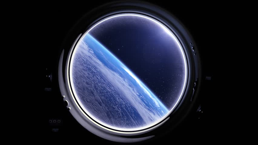 A view of the Earth from through the porthole of a spaceship. International space station is orbiting the Earth. Space, earth, orbit, ISS, Elements furnished by NASA.