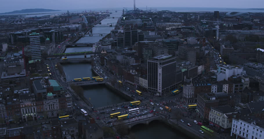 Aerial view flying over downtown Dublin | Shutterstock HD Video #26589782