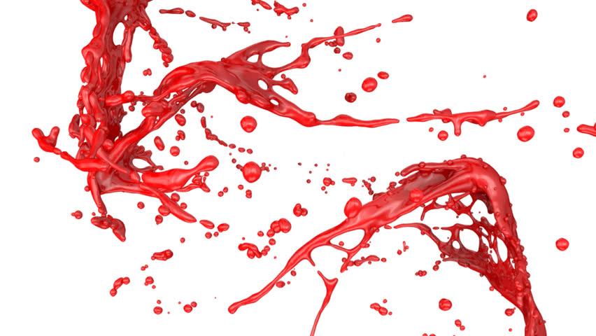 red paint splash, isolated on black (full hd) stock footage video