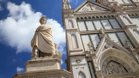 Time-lapse to Italian poet Dante Alighieri monument, the Divine Comedy writer in Piazza Santa Croce, Florence, Tuscany, Italy