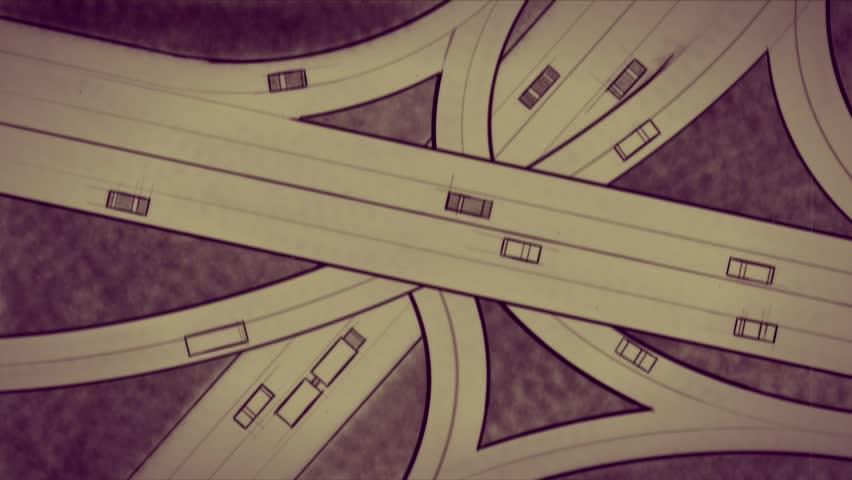 Highway interchange. Aerial top view. Hand drawn animation. Seamless loop. Retro flickering look.