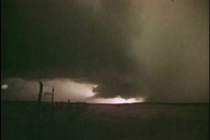 1970s: Lightning, thunder, darkening skies and the formation of tornadoes are shown, in 1977.