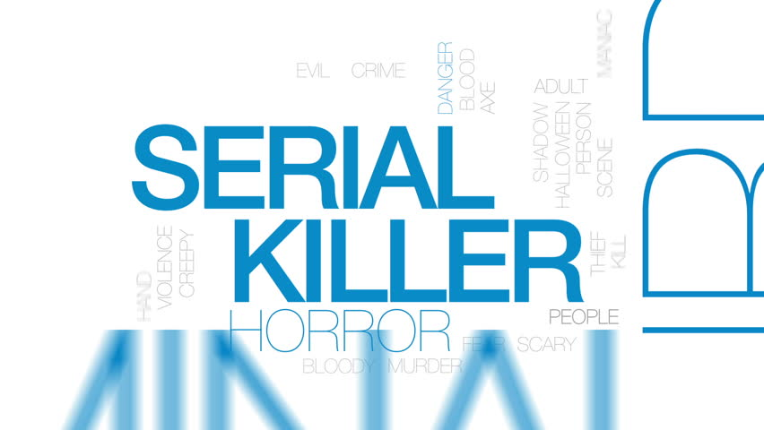 Serial killer animated word cloud, text design animation. Kinetic typography. | Shutterstock HD Video #26620822