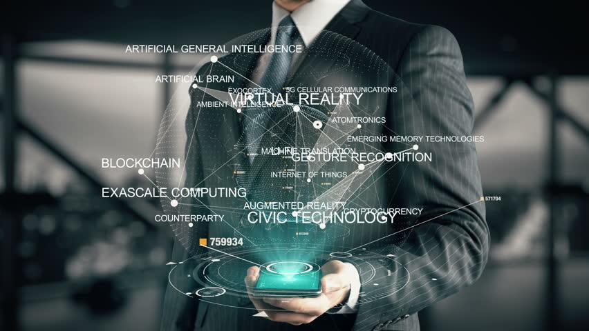 Businessman with Blockchain hologram concept   Shutterstock HD Video #26644822