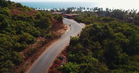 Indian road, drone shot