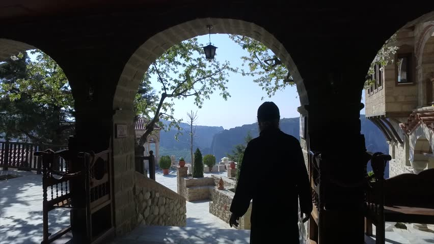Meteora, Greece, monk walking