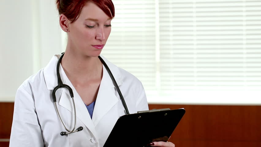Caucasian Female Nurse Or Doctor Greets You With A Smile - Clipboard, Stethoscope -4777