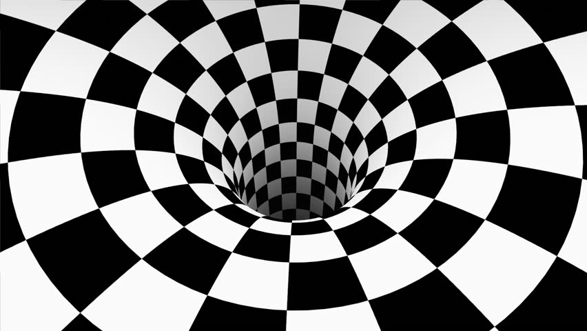 Abstract Background. A spinning and loop-able wormhole with a black and white checkerboard texture on it .
