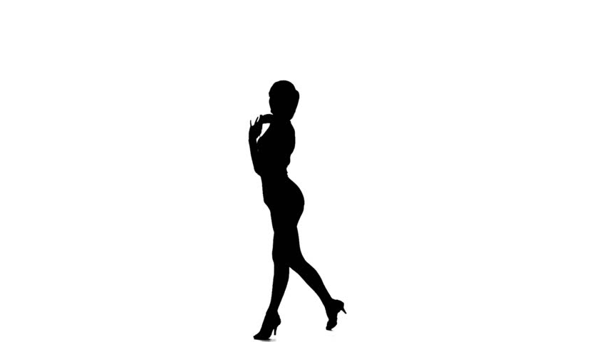 Professional dancer woman dancing samba, slow motion. White background, silhouette