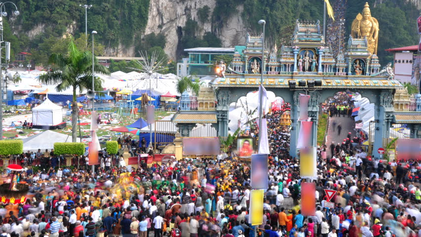 MALAYSIA - JANUARY 20: Time lapse of the Thaipusam festival, celebrated mostly by the Tamil, on January 20, 2011 at Batu Caves in Kuala Lumpur, Malaysia.