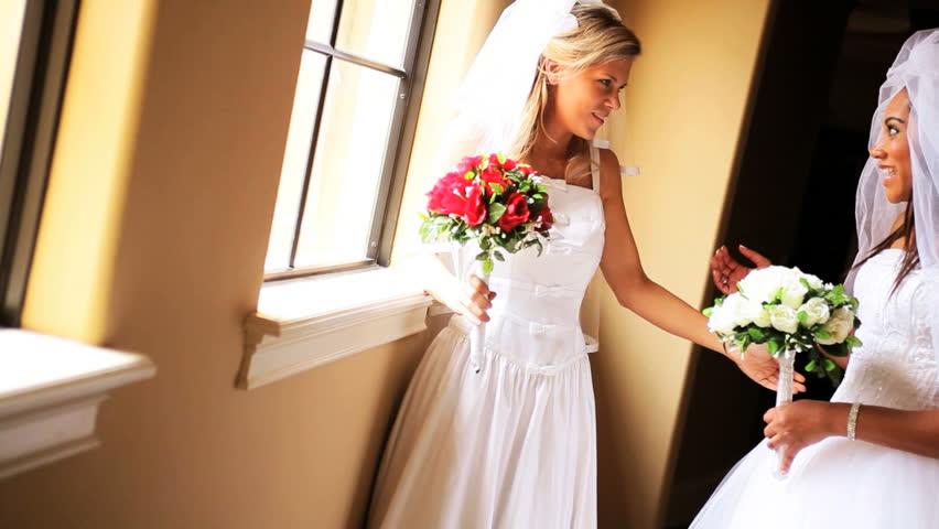 Double Wedding Beautiful African American Caucasian Friends ...