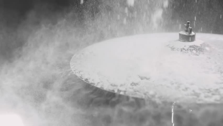 Impact on the drum plate, white powder flies in slow motion, black background. Close-up.  | Shutterstock HD Video #26729332