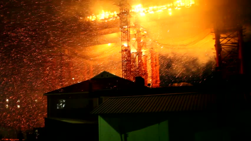 Urban fire burns out of control at the cable bridge being constructed
