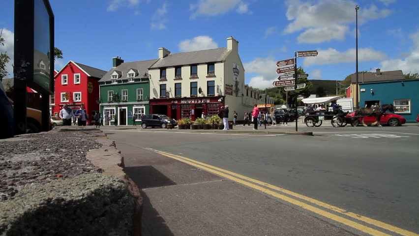 DINGLE, IRELAND - 14th June 2011 - Shot of main street passing through the town of Dingle in Kerry County, Ireland.