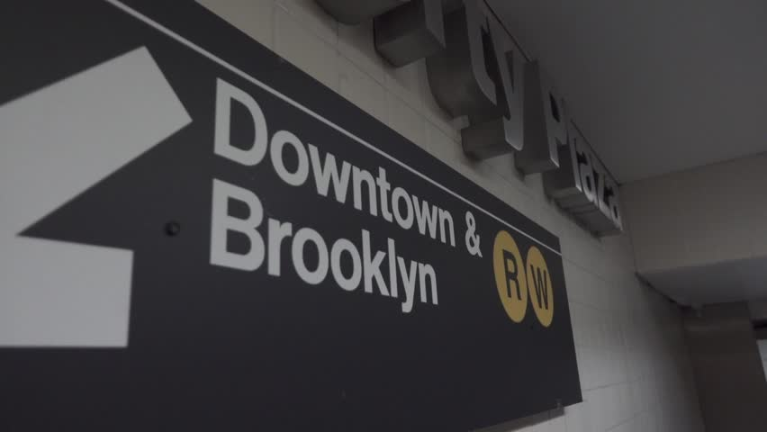 Downtown Brooklyn Subway Sign in Metro Station Plaza 4K | Shutterstock HD Video #26777302