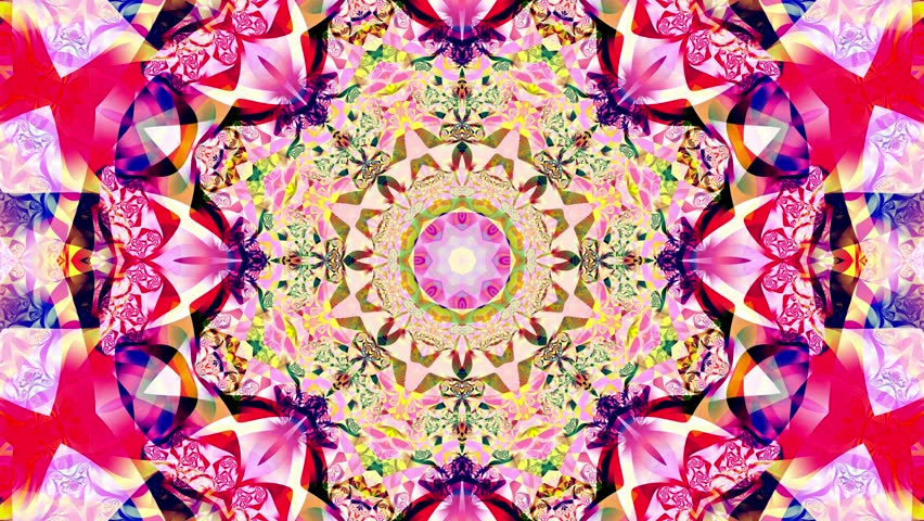 Multicolored kaleidoscope sequence patterns. 4K. Abstract multicolored motion graphics background. Or for yoga, clubs, shows, mandala, fractal animation. Seamless loop.