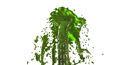 Beautiful fountain green liquid splash, fountain 3d on white background with alpha matte. Juice streams is rising high. 3d with very high detail. Version 14
