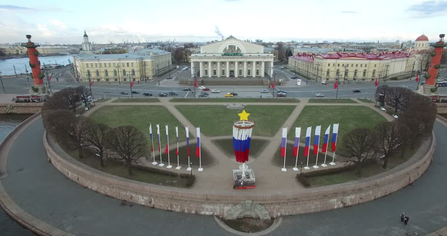 Aerial drone video with view of beautiful vintage architecture of St.-Petersburg, views of Neva River, Vasilevski Island, Finnish Bay and surroundings of the northern capital of Russia