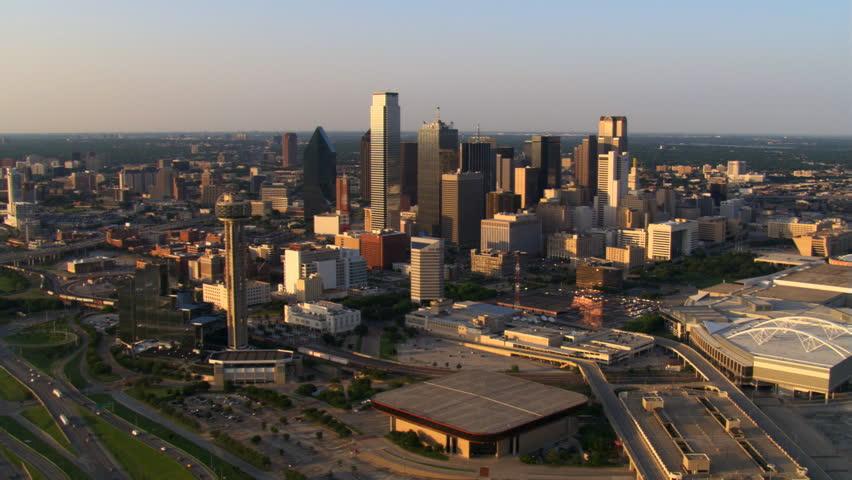 Slow flight across downtown Dallas, Texas. Shot in 2007.