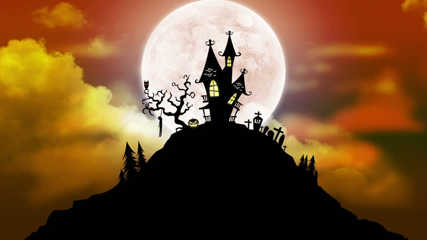 happy halloween background animation with moon hd stock video clip - Halloween Background Video