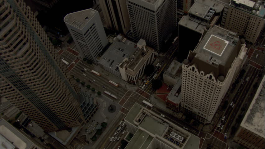 Steep look down on highrise buildings in downtown Los Angeles | Shutterstock HD Video #26902462