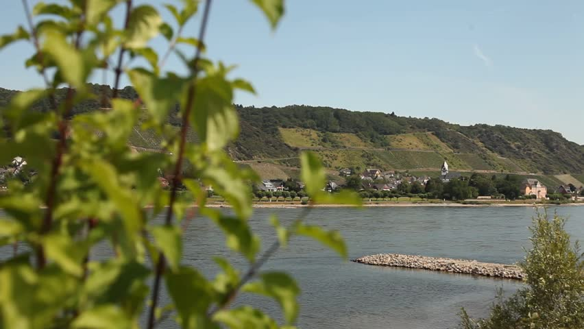 video footage of the region of the Rhine in germany with a famous winegrowing area