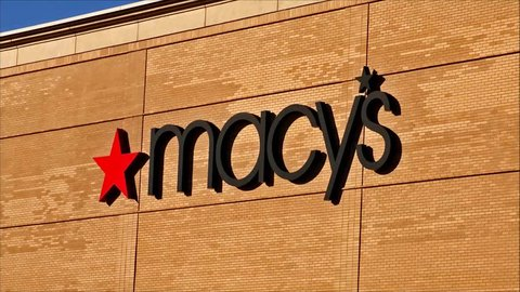 Macy's retail store sign, zoom in loop - Peabody, Massachusetts USA - April 23, 2017