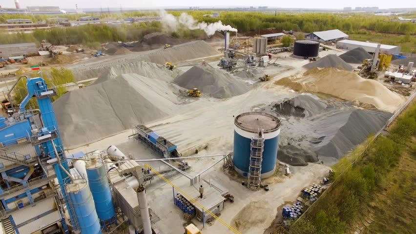 Asphalt-concrete plant in the field among the forests. aerial view | Shutterstock HD Video #26912902